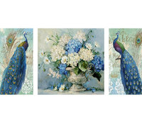 Diy diamond mosaic paint on canvas 3d diamond painting cross stitch kit diamond embroidery peacock flowers picture Craft gift