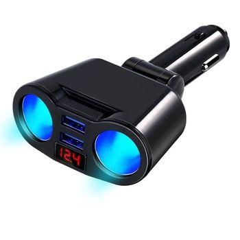 3 en 1 12 V encendedor de cigarrillos de coche enchufe divisor cargador Dual USB Monitor de corriente de voltaje para iPhone Samsung smartphone Tab