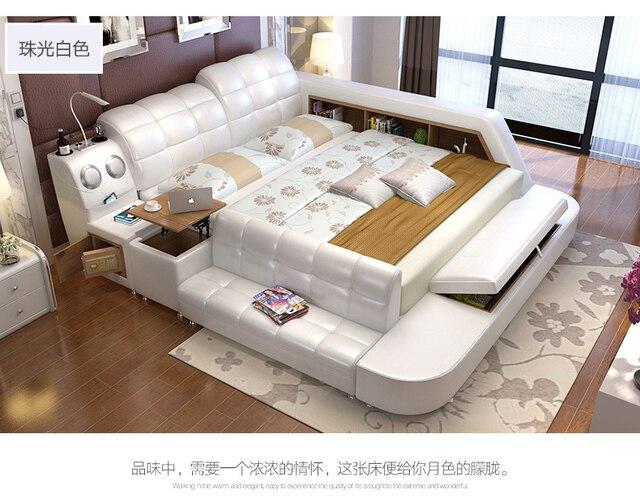 Cadre de lit en cuir véritable avec rangement et lits souples ...