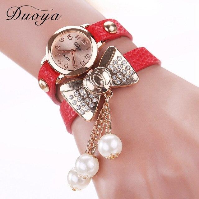 Duoya Women Watches Rhinestone Bow Pearl Bracelet Watch Analog Quartz Ladies Wri