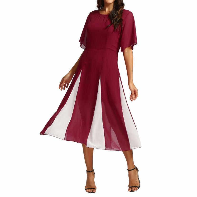 73d33e5cb440378 ... Летнее платье Для женщин с круглым вырезом Половина Puff рукавом  длинное шифоновое платье макси черное Повседневное ...