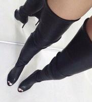 2017 Summer woman brand new stylish high quality leather thigh high boots sexy open toe high heel boots long boots