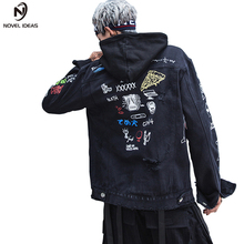 Novel ideas Brand New Denim Jacket Men Japan Style Graffiti Vintage Patch Designs Jackets For Hip Hop Streetwear