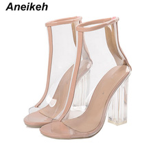 Aneikeh NEW PVC Sandals Ankle Boots High Heel Fish Mouth Transparent W