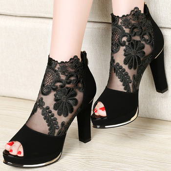 Centennial 2017 รองเท้าส้นสูงใหม่หยาบตาข่ายลูกไม้ปลาปากรองเท้าแตะผู้หญิงรองเท้าแตะ 1028