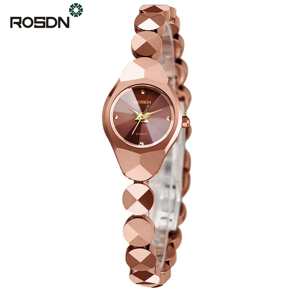ROSDN TOP Brand Luxury Women Bracelet Watches Gift Set Fashion Women Dress wrist watch Ladies Quartz Rose Gold Watch Waterproof women dress watches top luxury brand guanqin women s fashion stainless steel bracelet quartz watch ladies watches gold watch