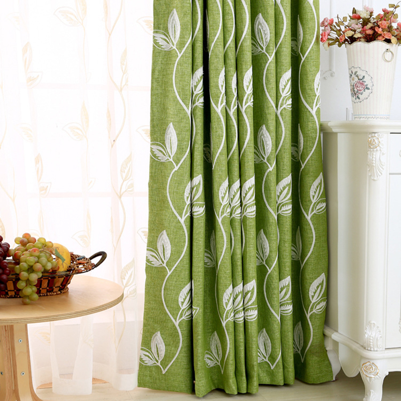 Pastoral green cotton and linen curtains for living room