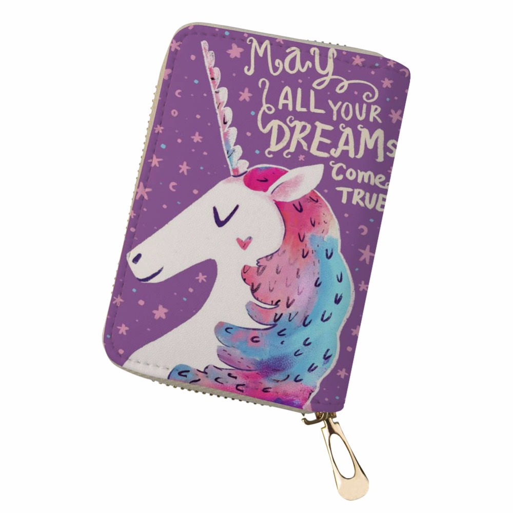 Noisydesigns Slim Wallet Multiple Cards unicorn feminine gorjuss funny Portable PU Leather Organizer monedero pokemon kaarten ...