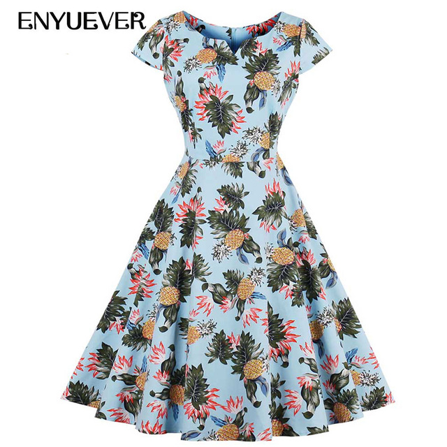 46a16d2143b Enyuever Ananas Robe Plus Taille Robes Vintage 50 s 60 s Robe Rockabilly  Partie Pinup Swing