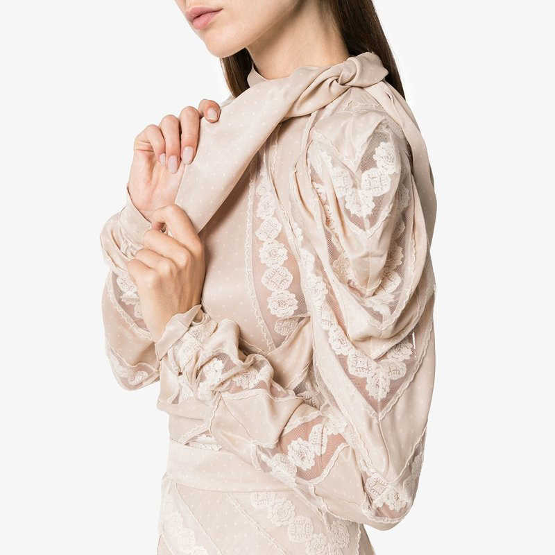f550c02942 ... Luxury Brand Runway Designer 2018 Autumn New Arrival Woman Lace Shirt High  Quality Hollow Out Patchwork ...