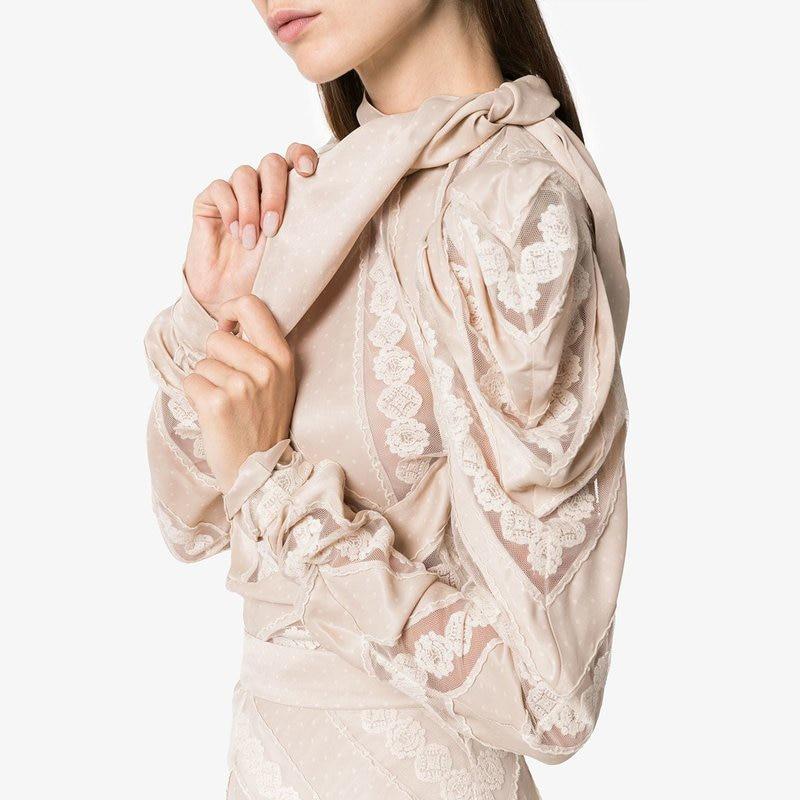 Alta Tops Un Pista Lujo Mujer Camisa Cuello Diseñador Patchwork Calidad Arco Encaje Llegada La 2018 Hueco Nuevo Beige De Otoño Marca Hq8SWqAO