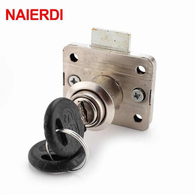 NAIERDI Lock NED-101 Iron Drawer Lock Furniture Desk Cabinet Locks 16mm Lock Core 22 Thickness With Two Keys Security Hardware