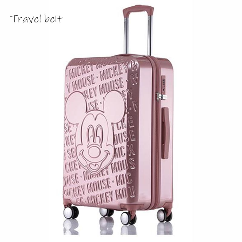 Travel Belt Cartoon Mouse 20/24 Inch Size High Quality PC Rolling Luggage Spinner International Brand Travel Suitcase