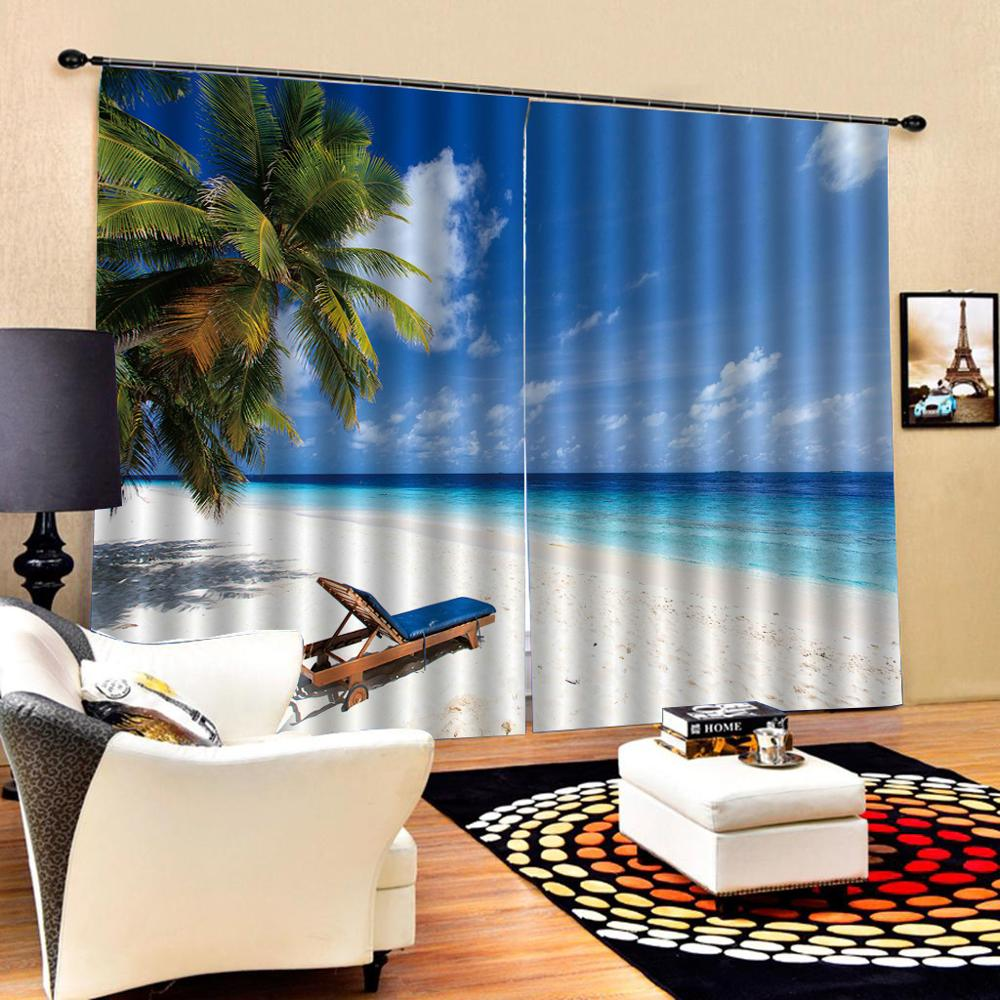 Beach curtains blue Luxury 3D Window Curtains Living Room wedding bedroom Cortinas Drapes Customized size in Curtains from Home Garden