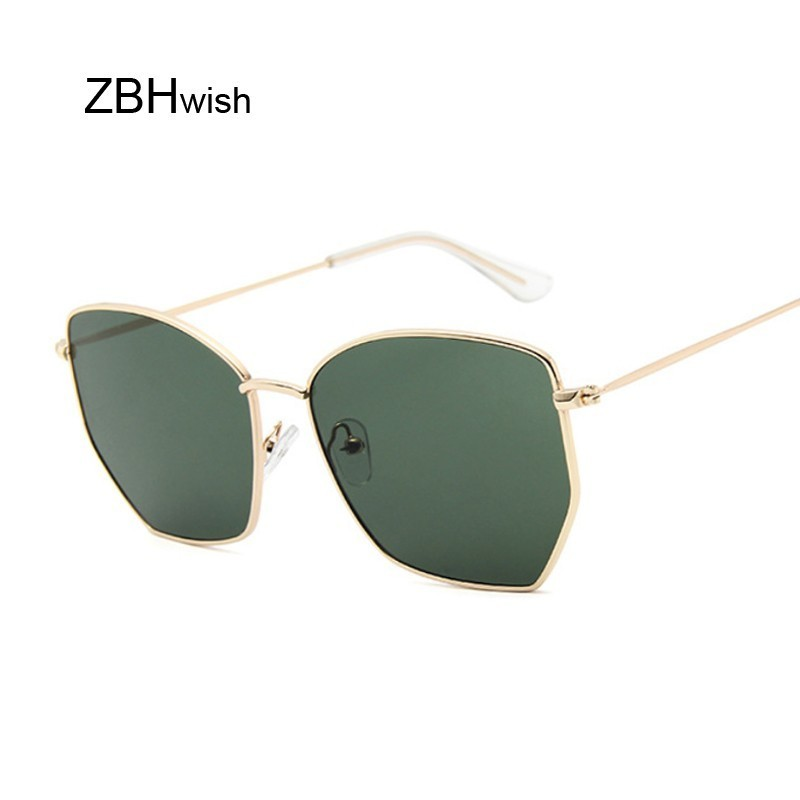 Cat Eye Sunglasses Women Classic Brand Flat Lens Clear Sun Glasses Female Male Retro Small Metal Frame Square