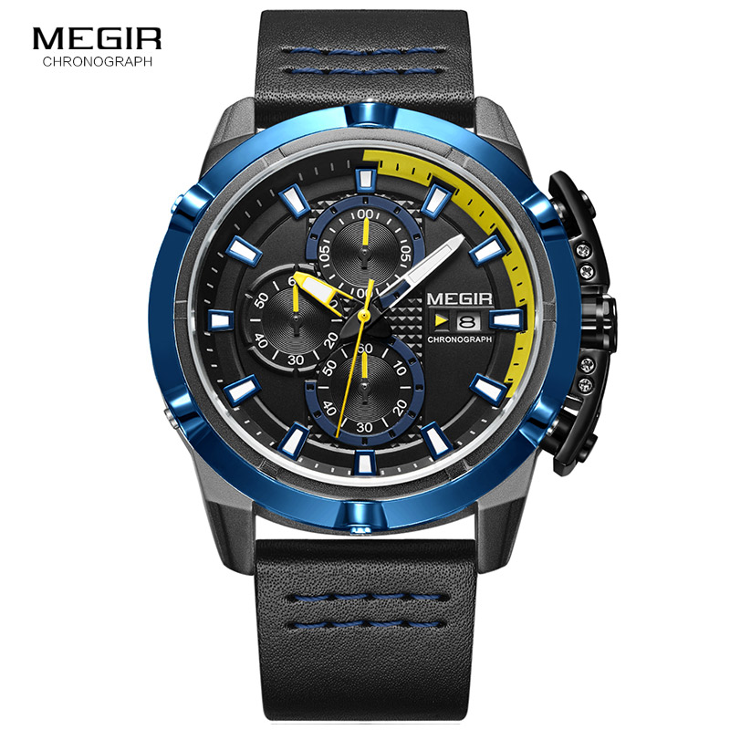 MEGIR Men Quartz Sport Watch Relogio Masculino Chronograph Military Army Watches Clock Men Top Brand Luxury Creative Watch Men reef tiger brand men s luxury swiss sport watches silicone quartz super grand chronograph super bright watch relogio masculino