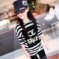 Meninas de manga longa t-shirt impresso T preto e branco 100% algodão marca T camisa frete grátis