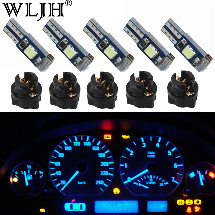 WLJH 10x Canbus T5 LED Light 3030 SMD PC74 Twist Socket Dashboard Lamp Instrument Panel Cluster Light Gauge Bulb for ford image