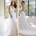 Vestido de noiva Luxury A Line Wedding Dress 2017 V Neck Sleeveless Sheer Back Chapel Train Chiffon Bridal Dress Hot Sale