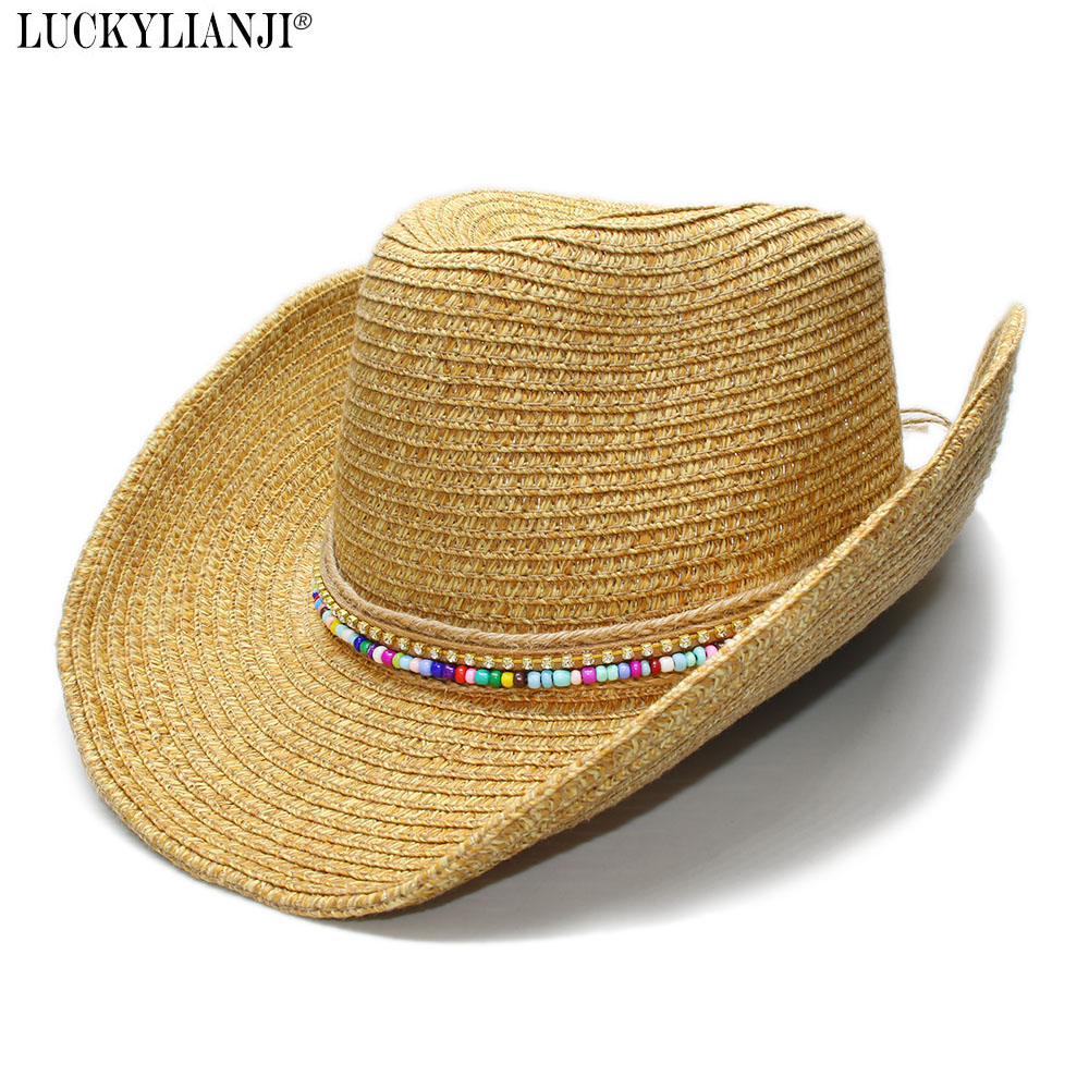 b1ae19e70677bc LUCKYLIANJI Women's Men's Unisex's Adjustable Wide Brim Soft Straw Sun  Beach Cowboy Hat Wood Beads Braided Band (58cm)