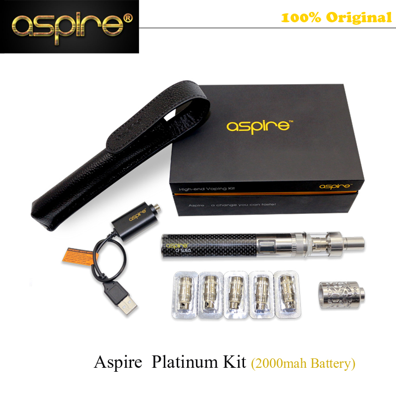 STOCK Aspire E Cigarette Kit 100% Authentic Aspire Platinum Kit 2000mah Battery 2ML Atlantis Glass Atomizer Vaporizer Vape Pen original aspire mechanical e cigarette aspire elite kit with 5ml large atomizer atlantis tank 3000mah battery vape kit vs eleaf