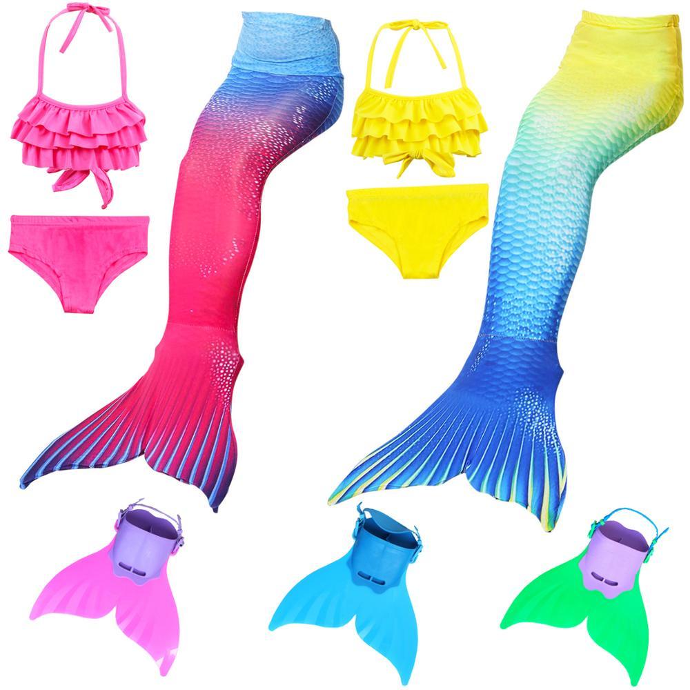 Girls Children Swimming Mermaid Tails Costume Cosplay Mermaid Swimsuit Bikini Set For Kids Tails