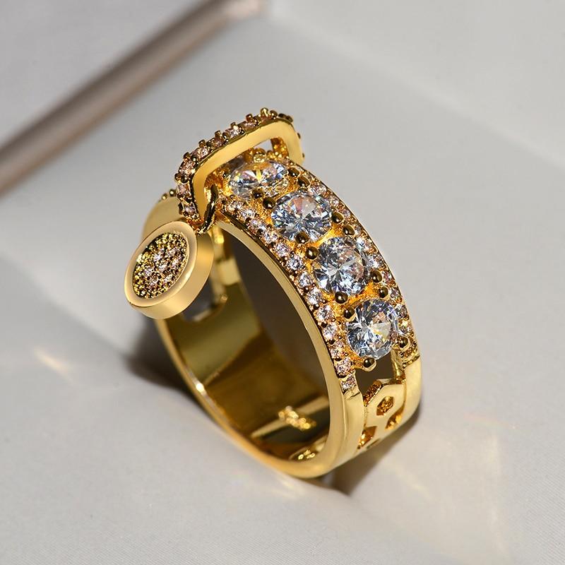 Fedi nuziali riempite oro rosa dell'annata di nuovo arrivo per l'anello di fidanzamento bianco di lusso dello zircone dei gioielli di modo delle donne 2