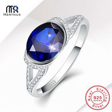 Merthus Oval Cut Royal Blue Zirconia Rhinestone 100% 925 Sterling Sliver Ring Wedding Engagement Jewlery Size 6 7 8 9