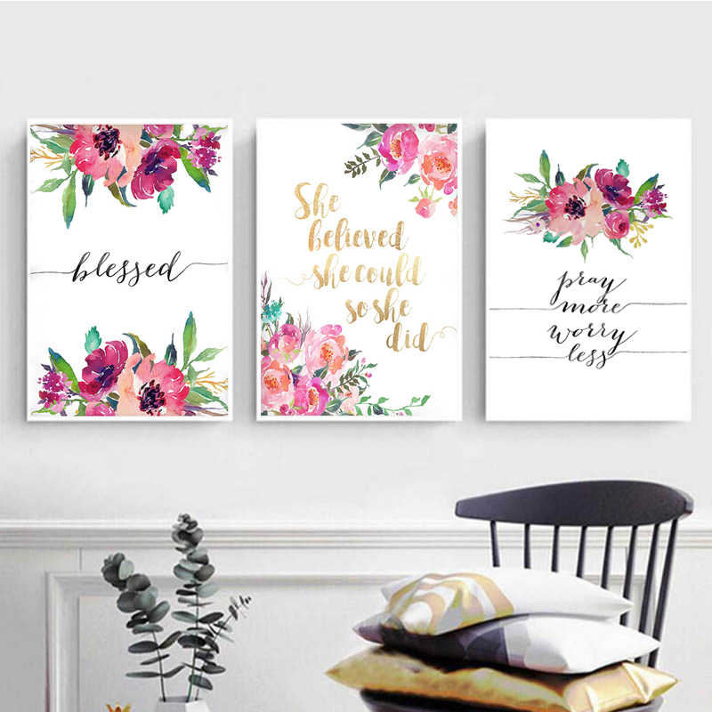 Bible Verse Poster Blessed Wall Art  Inspirational Quote Watercolor Canvas Painting Flowers Posters and Prints Home Decoration