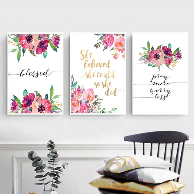 603db6aaf Bible Verse Poster Blessed Wall Art Inspirational Quote Watercolor Canvas  Painting Flowers Posters and Prints Home Decoration