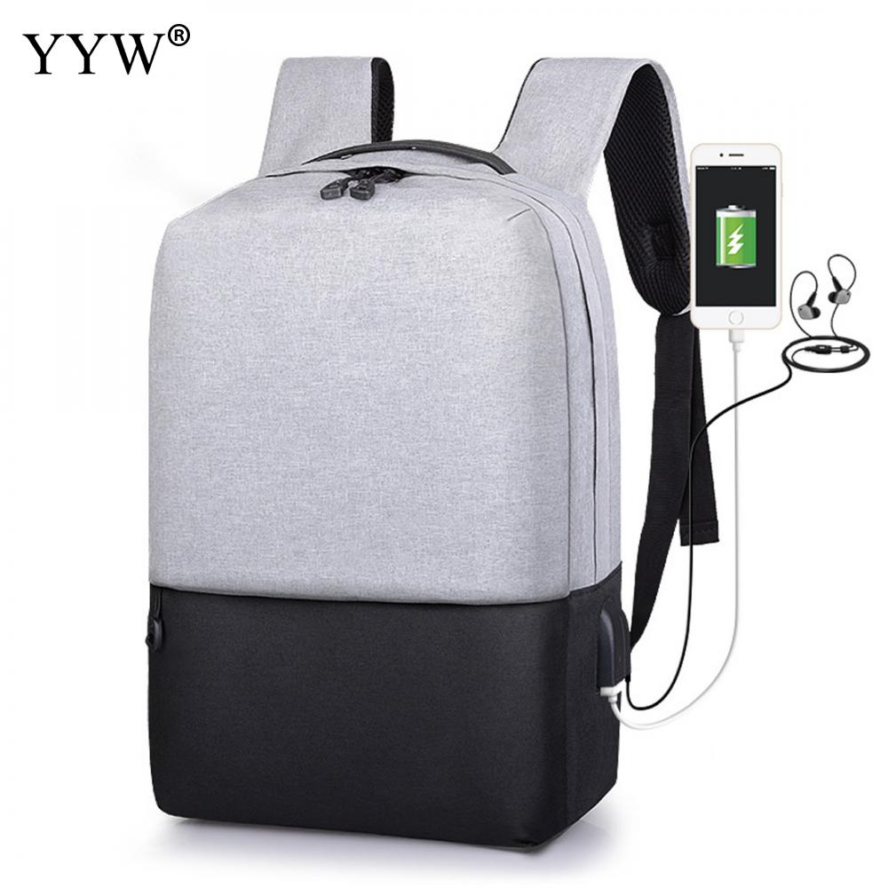 Gray Unisex Backpack with USB Interface Oxford Mens Laptop Backpack Zipper Anti Theft Backpack Female Softback School Bag ...