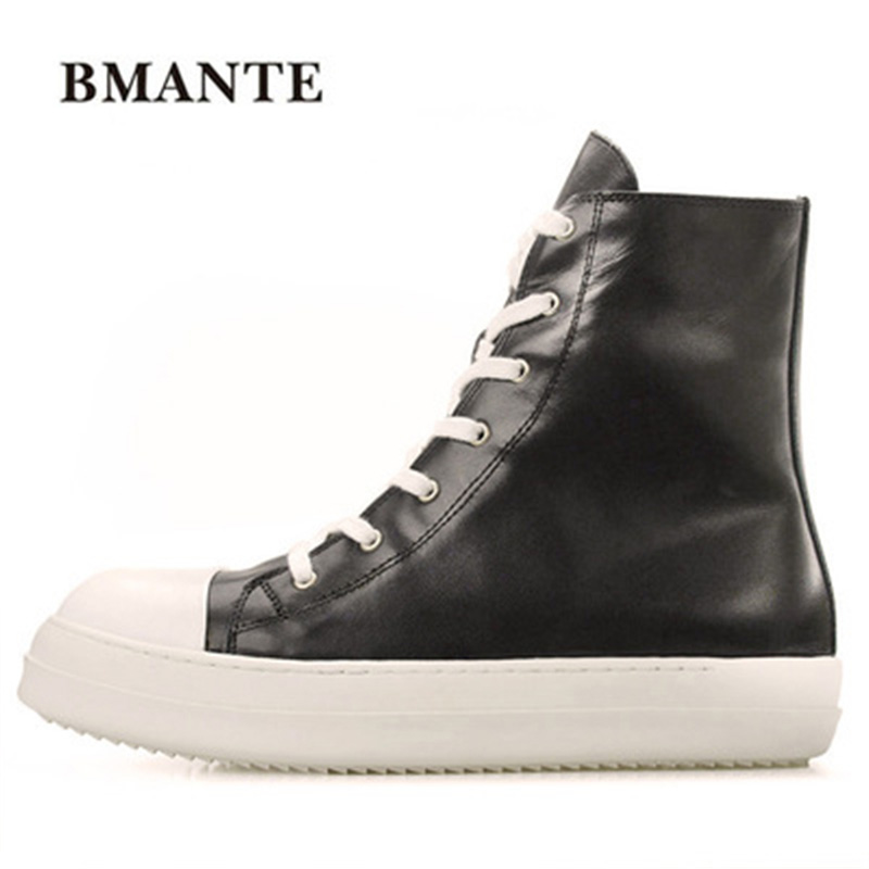 Male High Top Ankle Boots Lace-Up Zip New Men Genuine Leather Casual Shoes Trainers  Men Owen Shoes Flats Spring Black Sneaker