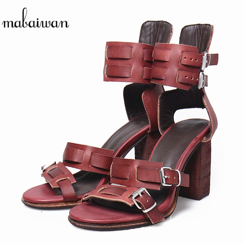 Mabaiwan Women Sandals Sewing Design Summer Slippers Buckle Thick High Heels Genuine Leather Dress Shoes Women Peep Toe Pumps