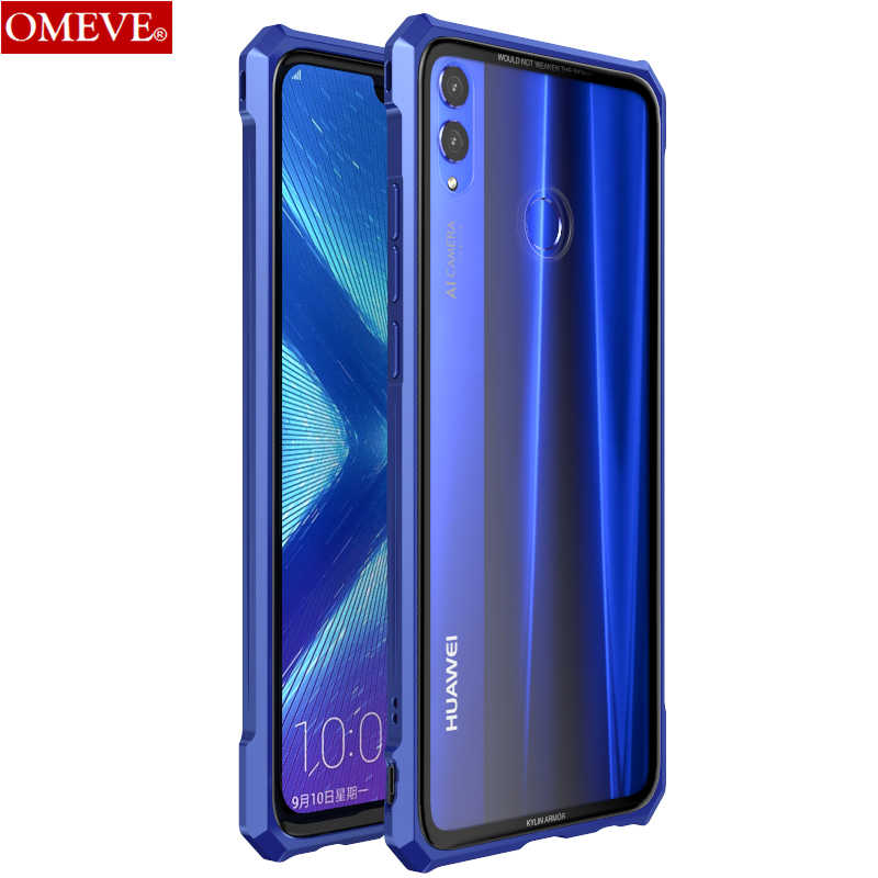 OMEVE Aluminum Metal Frame and Transparent Tempered Glass Back Cover Bumper Case for Huawei Honor 8X/ 8X Max/ 9X/ 9X Pro
