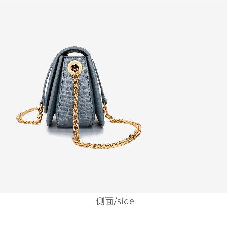 Luxo mini rodada saco Mulheres Bolsa do Couro Genuíno cadeia de Mulheres do desenhador Sacos Do Mensageiro Do Ombro Pequena Bolsa Da Embreagem Bolsa bolsos mujer - 5