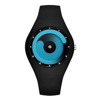 Unisex Candy Colorful Silicone Black Strap Round Silicone Case Simple Dial Quartz Watch Mens Watches Women