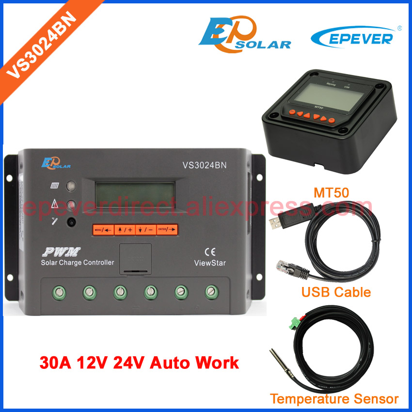 PWM 24V charger controller solar panel regulator VS3024BN USB cable and temperature sensor user parameter set MT50 30A ep new series pwm regulator solar panel system controller with usb cable and mt50 remote meter vs3024bn 30a 30amp
