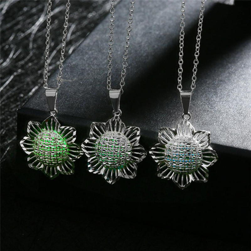 WQ-925-SILVER Store Luminous Series Three Color Link Color Flower Chains Necklaces Fit For Women Men Luxury Jewelry Gift 02
