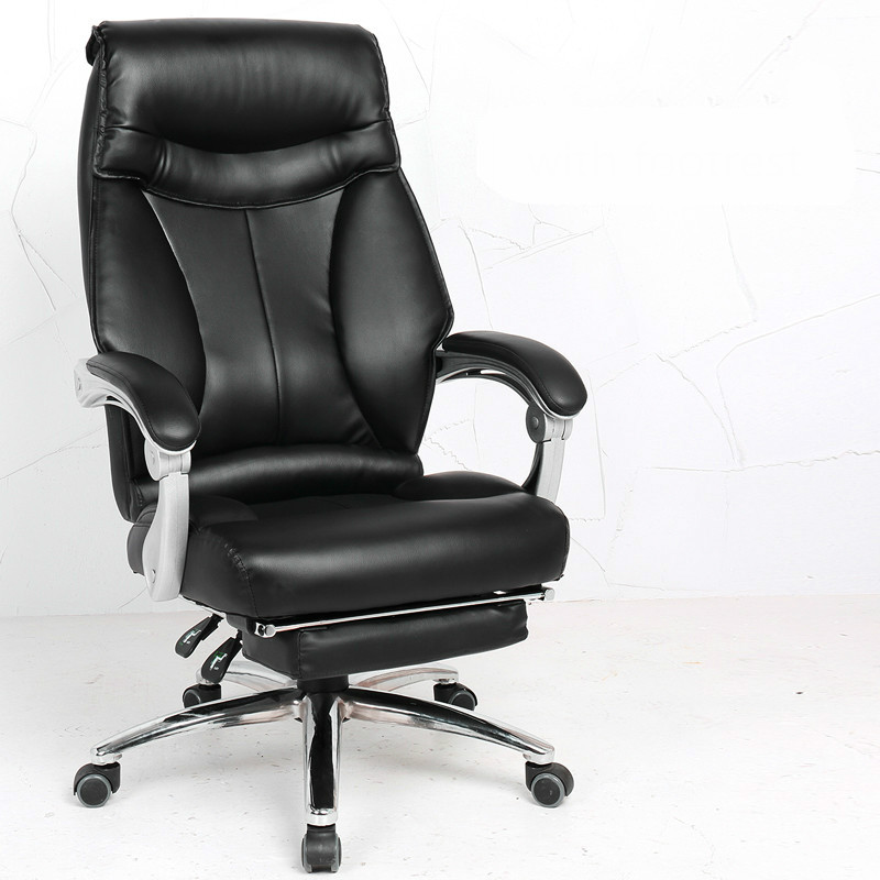 Comfortable Computer Chair Home Office Boss Chair Swivel Reclining Study Room Silla Seat Executive Chair Footrest Aluminum Alloy