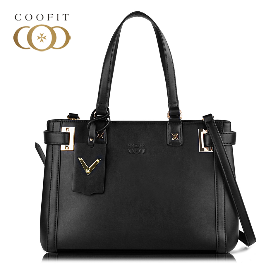 Coofit Designer Womens Black Premium PU Handbag Casual Concise Large Capacity Crossbody Shoulder Bag Tote Purses For Office Lady