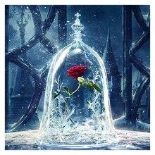 Алмазная вышивка DIY Алмазная Картина Красная роза цветок лед, красота и чудовище, алмазная Живопись Вышивка крестом Стразы Декор XU