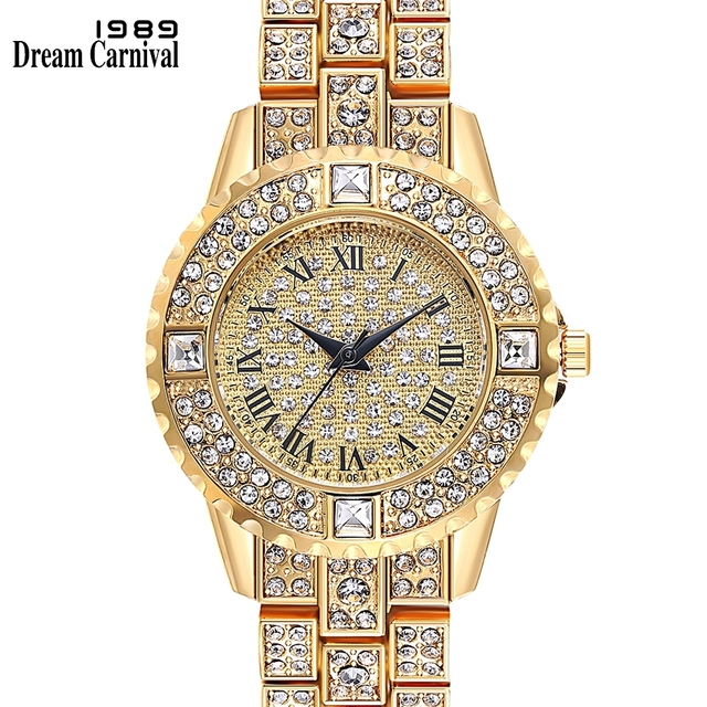 Dreamcarnival 1989 Brand New Quartz Watch for Ladies Women Roman Index Full Crys