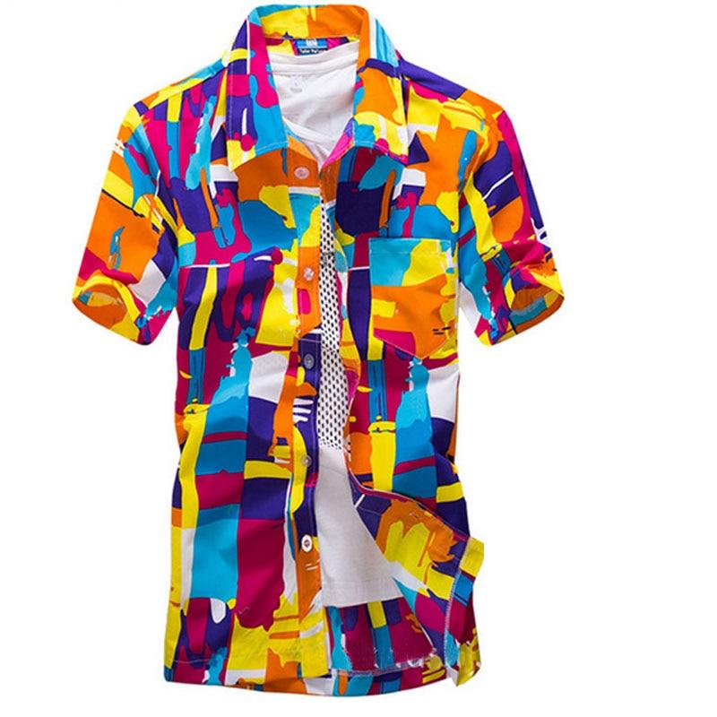 Mens Hawaiian Shirt Male Casual Shirts Short Sleeve