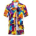 Mens Hawaiian Shirt Male Casual Shirts Short Sleeve Graffiti Print Social Plaid Blouse Men Polyester Beach Fancy Floral Brand