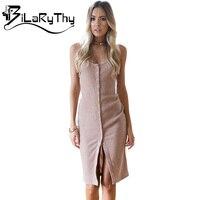 BiLaRyThy Straps Sleeveless Knitted Solid Women Dress Backless Elastic Short Bodycon Dresses Basic Female Clothes