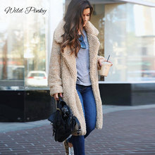 WildPinky 2019 Women Faux Fur Coat Winter Thick Warm Fluffy Long Coats Fashion Lapel Shaggy Jackets Overcoat Plus Size 3XL
