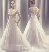 Charming Open Back Wedding Dresses A Line Sweetheart Applique Beads Sash Sweep Train Bridal Gowns yk8R891