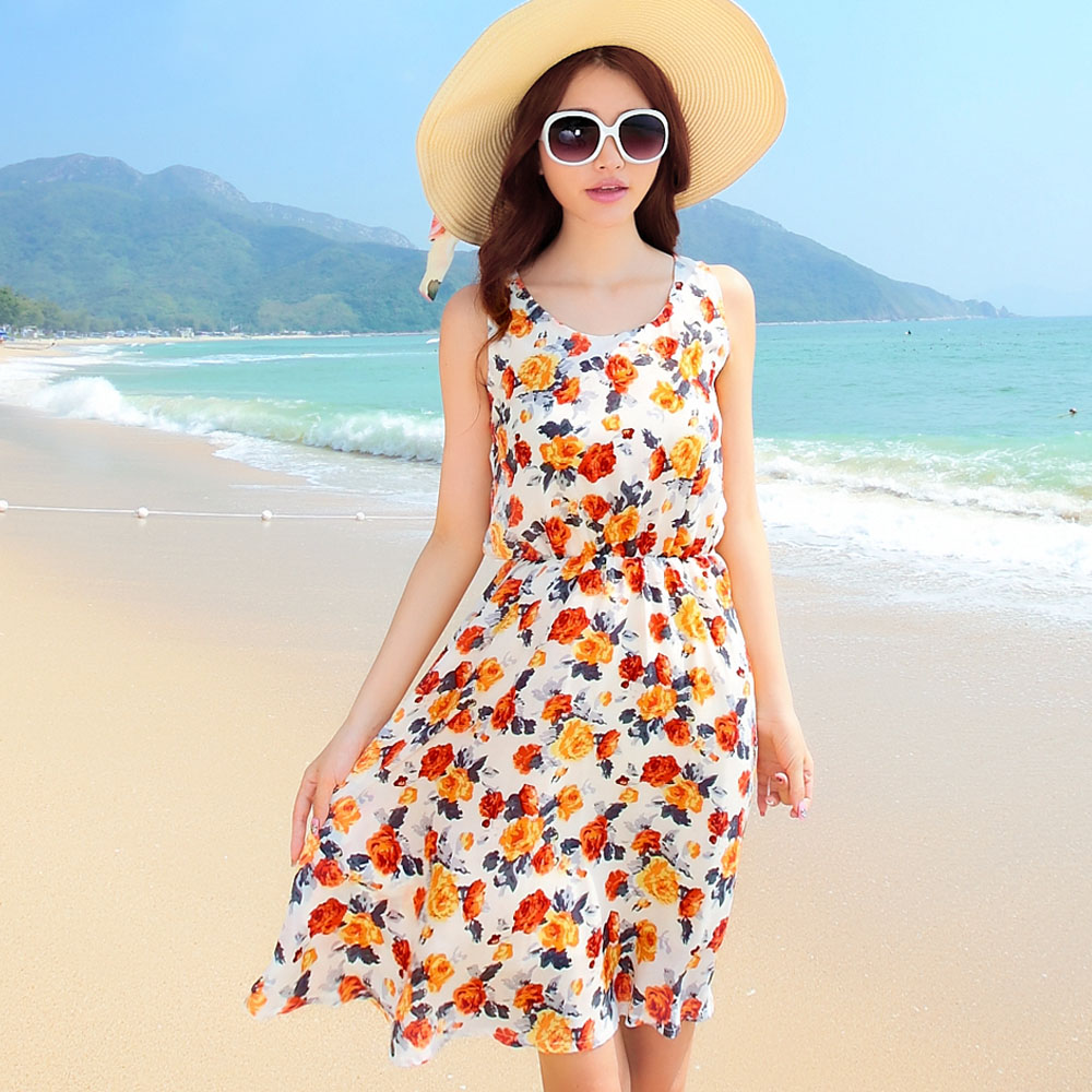 7dca41e6e4 Free Shipping beach dress bohemia short design print one-piece dress summer  midguts tank dress