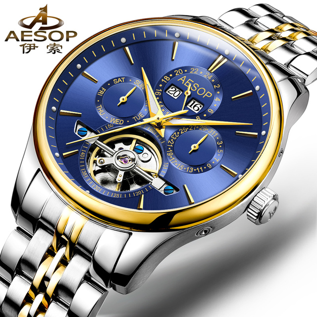 AESOP 9022 Switzerland watches men luxury brand Perpetual calendar automatic mechanical Tourbillon blue stainless steel