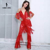 Missord 2017 Sexy V Neck Off Shoulder Backless Tassel Rompers Womens Jumpsuit FT8392